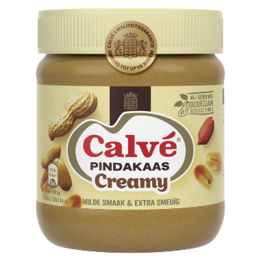 Calve Pindakaas Creamy 350 g 8711200430970 w transparent background